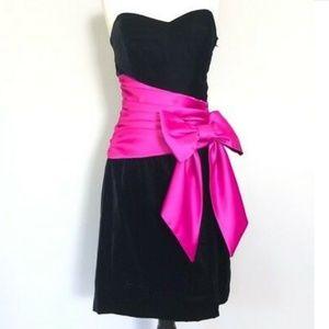 Betsy Johnson Black Velvet Evening Dress w/ Bow